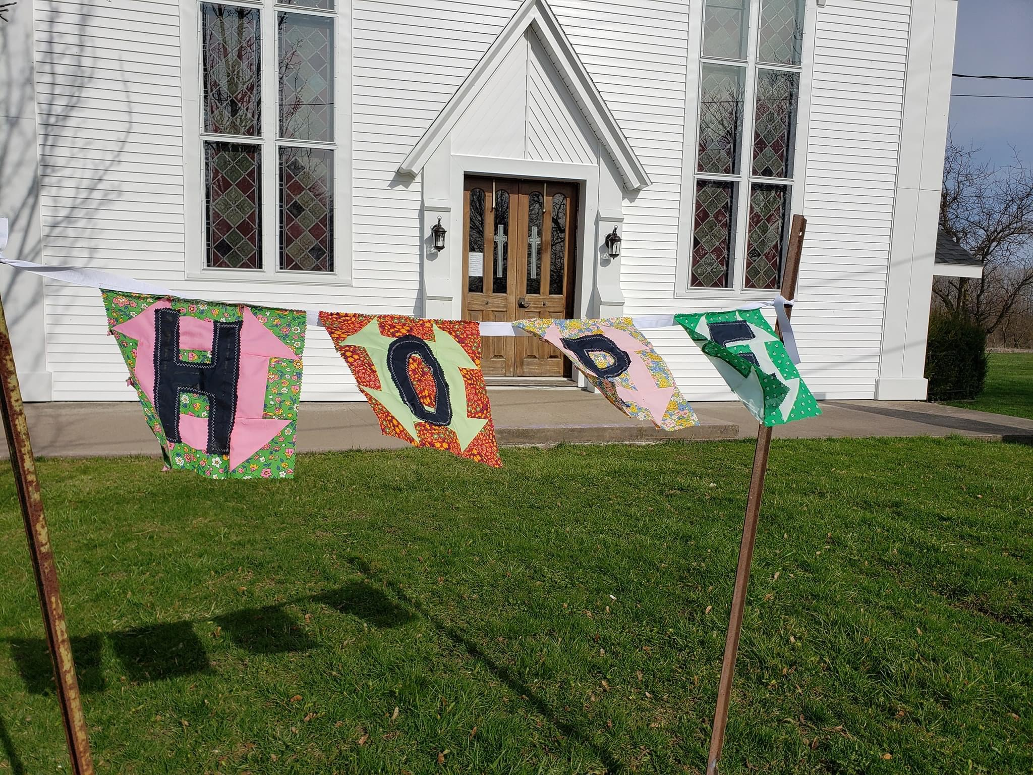 Prayer Flags in front of West Barre UMC